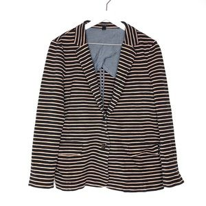 JCrew Navy and Tan Striped Ponte Blazer